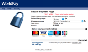Worldpay default payment page 1