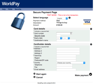 Worldpay default payment page 2